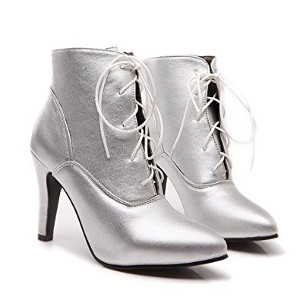 Silver Pointed Heel Boots