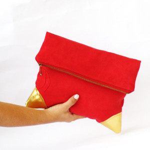 Poppy Red gold suede leather clutch