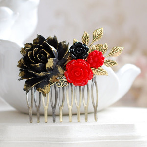 Black and Red Rose Hair Comb