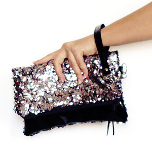 Black patent leather silver sequins wristlet clutch