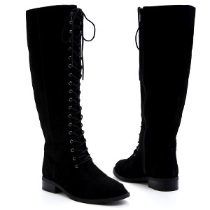 Genuine Suede Lace Up Knee-High Boots