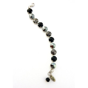 Black and silver Swarovski crystal tennis bracelet