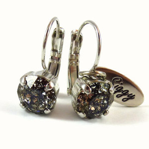 Black Patina Swarovski crystal earrings
