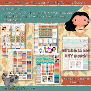 Native American Princess Weekly & Monthly Planner Sticker Kit