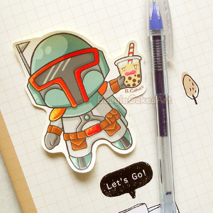 Boba Fett with Boba Tea Sticker