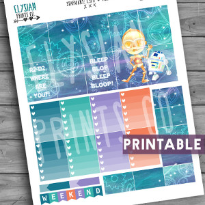 Star Wars C-3PO R2-D2 Printable Planner Stickers