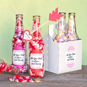 Valentine Candy Bottles and DIY Heart Arrows