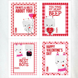 Sweet Robot Valentine's Day Cards