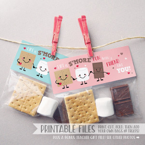 Printable Smores Valentine Treat Bag Toppers