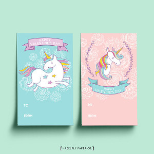Printable Unicorn Valentine's Day Cards