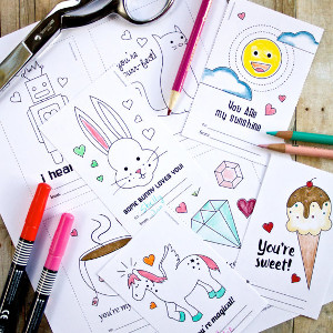 DIY Printable Valentine Coloring Cards