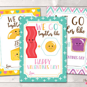 We Go Together Food Valentine's Cards