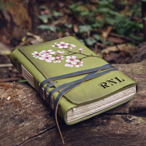 Green Monogrammed Leather Journal