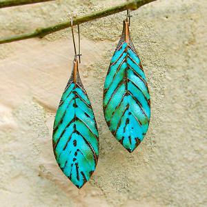 Turquoise Boho Leaf Earrings