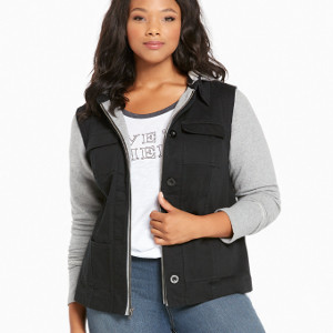 Mixed Fabric Utility Jacket