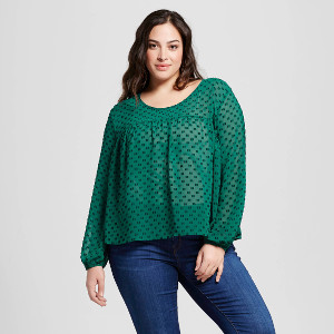 Women's Plus Size Textured Feminine Top by Merona at Target