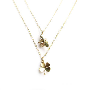 Gold Bee and Clover Necklace