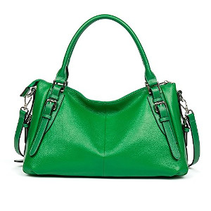 Vintage Soft Leather Handbag in Green