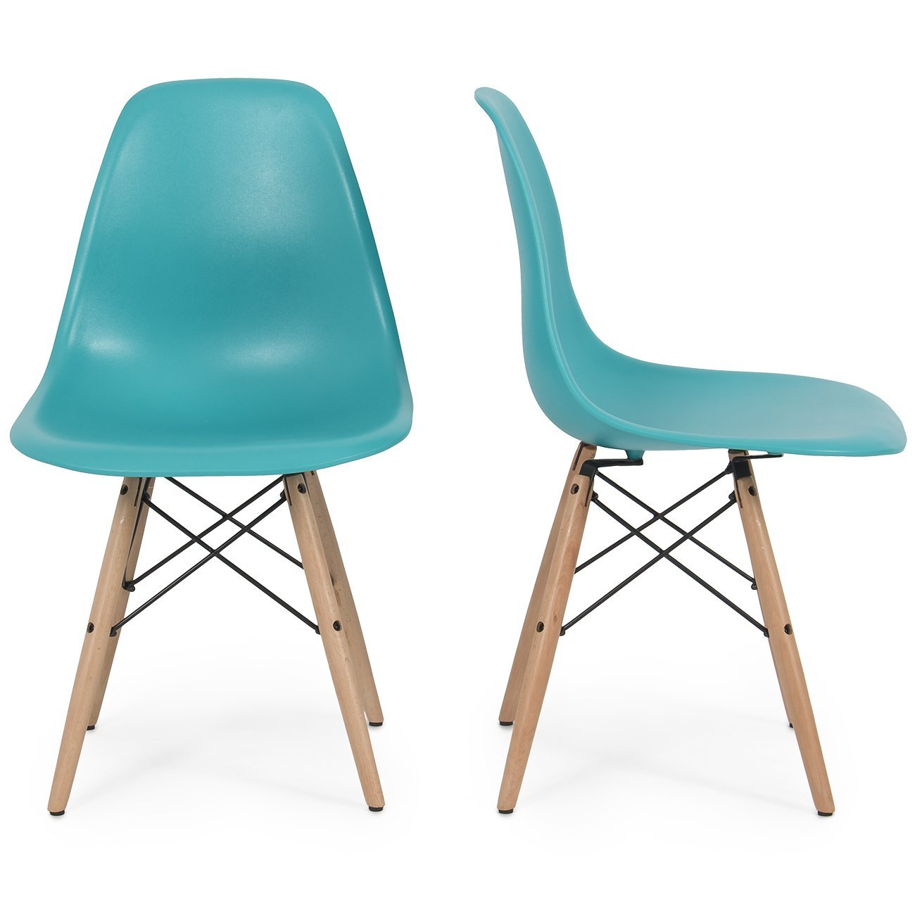 Belleze Set of (2) Earmes Style DSW Modern Dining Side Chair Natural Wood Base Leg, Blue