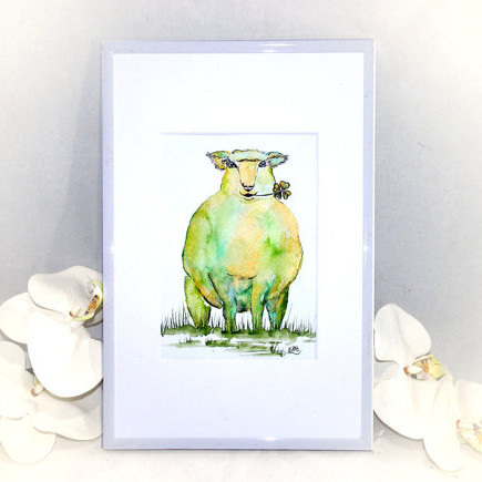Sheep and Clover Painting