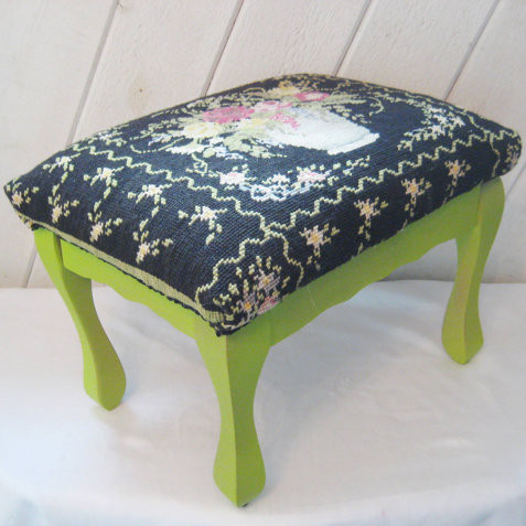 Needlepoint Upholstered Stool