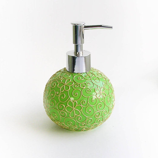 Round Green Ceramic Soap Dispenser