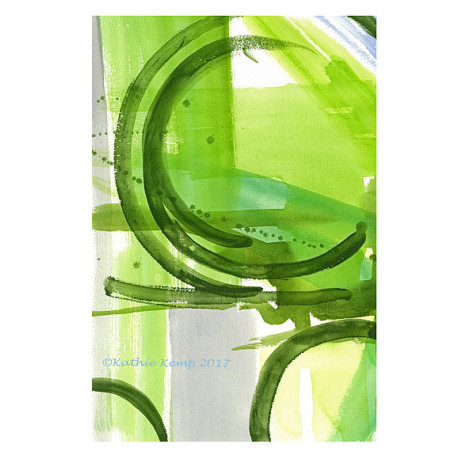 Abstract Modern Green Watercolor Painting