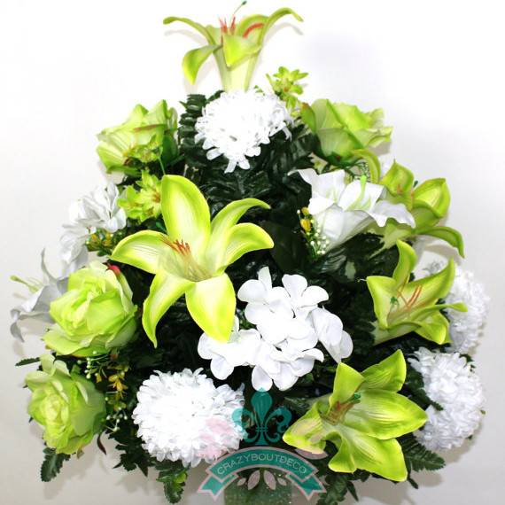 XL Beautiful Lime Green Lilies and Roses Flower Arrangement