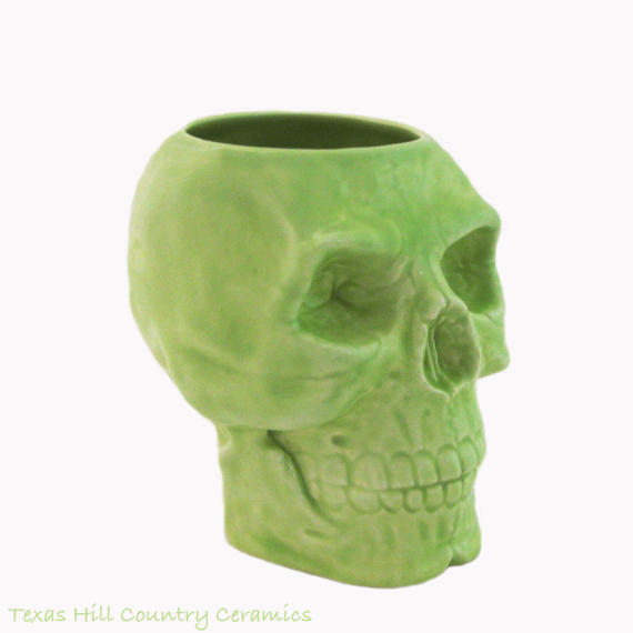Green Ceramic Skull Toothbrush Holder