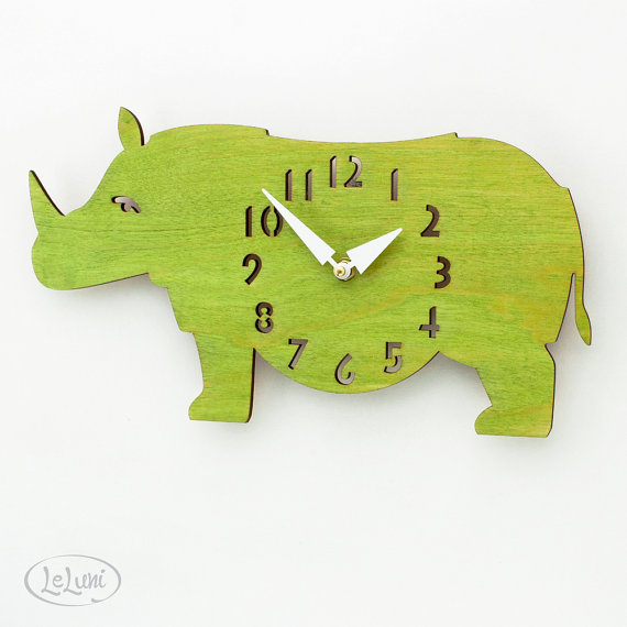 "The ""Rotund Rhino in Lime Green"" Clock"