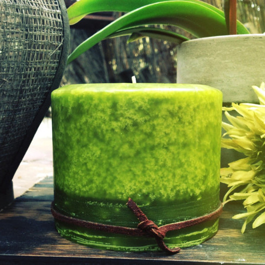 Zen Green Pillar Candle