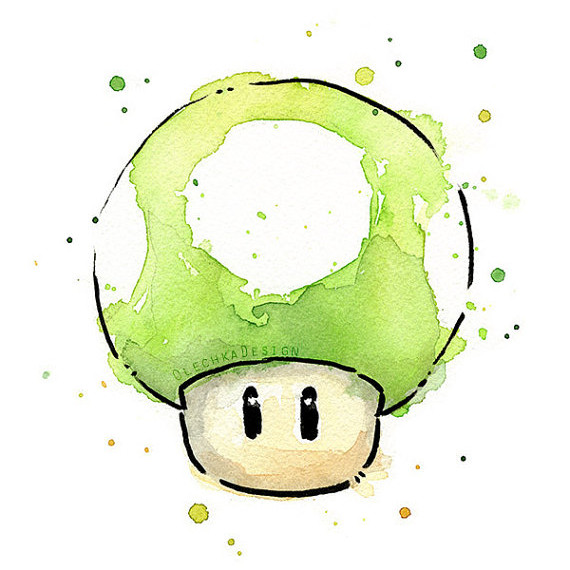 Green 1UP Mushroom Watercolor Print