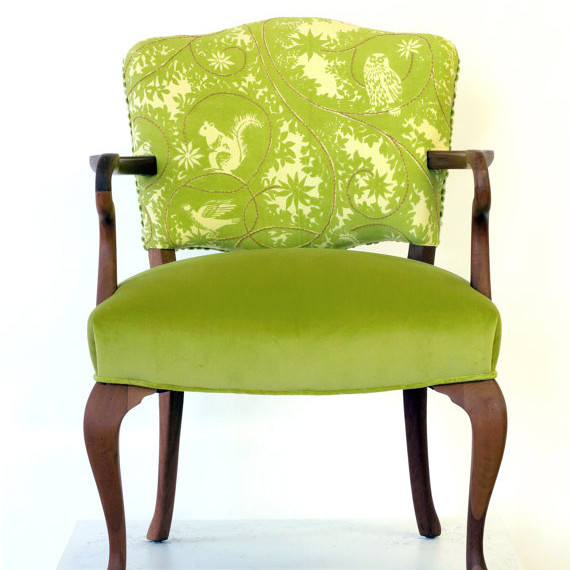 Green Embroidered Chair