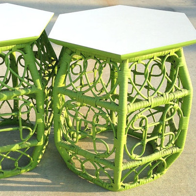 Vintage Hexagon Green Rattan Side Tables