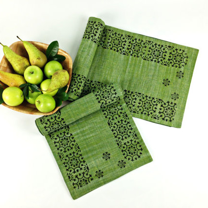 Fern Green Khadi Table Runner