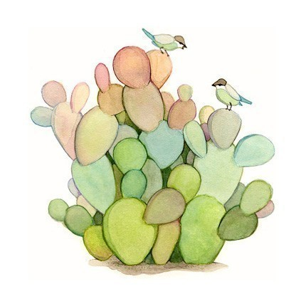 Watercolor Cactus Painting