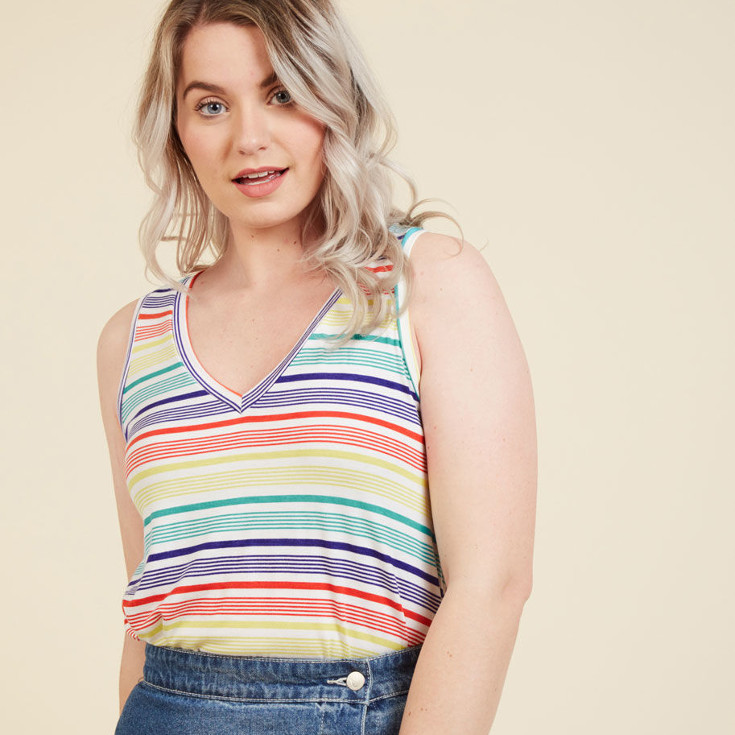Infinite Options Tank Top in Bright Stripes - rainbow striped tank top from ModCloth