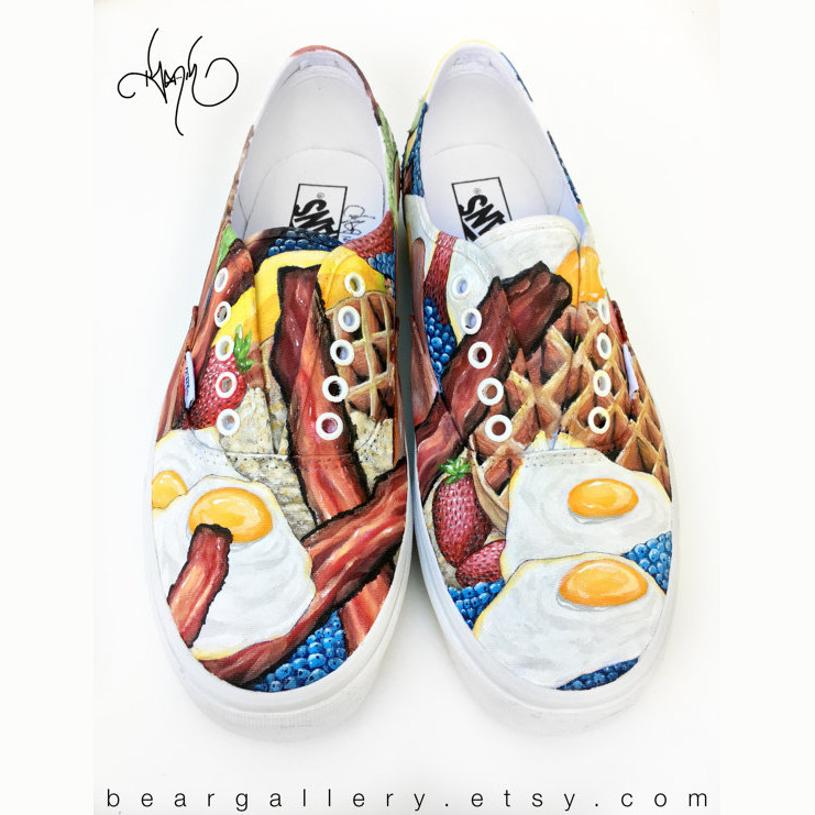 Breakfast Food Custom Vans