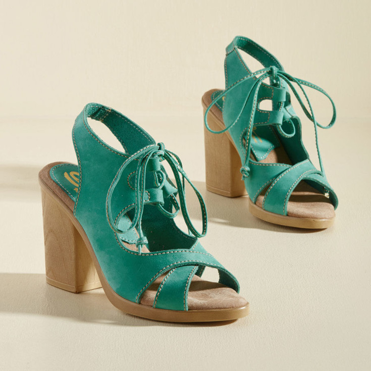 Here to Statement Block Heel - green block heels from ModCloth