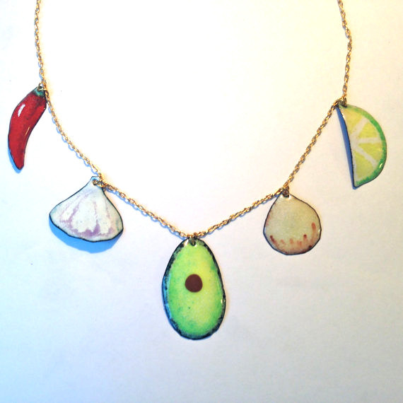 Guacamole Necklace - necklace featuring a chili pepper, garlic, avocado, onion, and lime