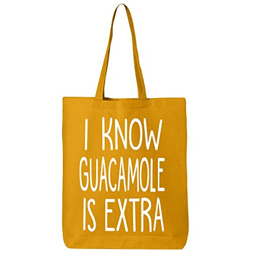 I Know Guacamole is Extra Tote - cute yellow tote that says I know guacamole is extra