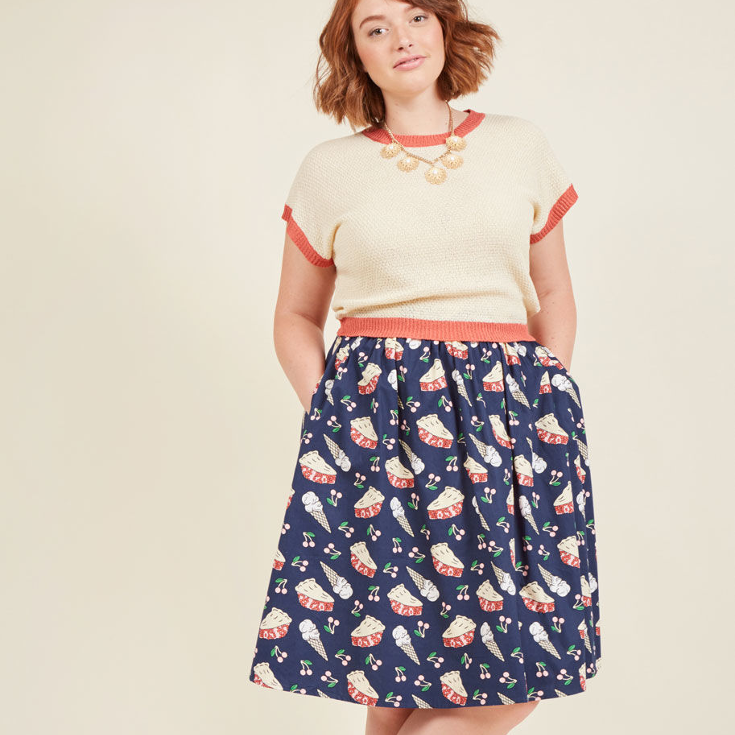 Sweet Spot A-Line Skirt - navy blue skirt featuring slices of cherry pie and ice cream by ModCloth