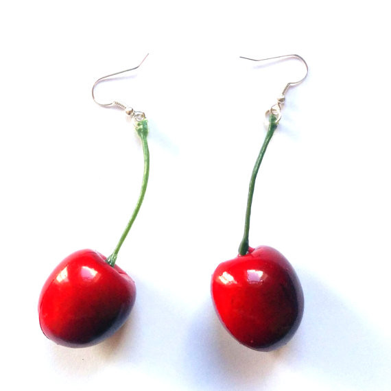 Large Red Cherry Earrings