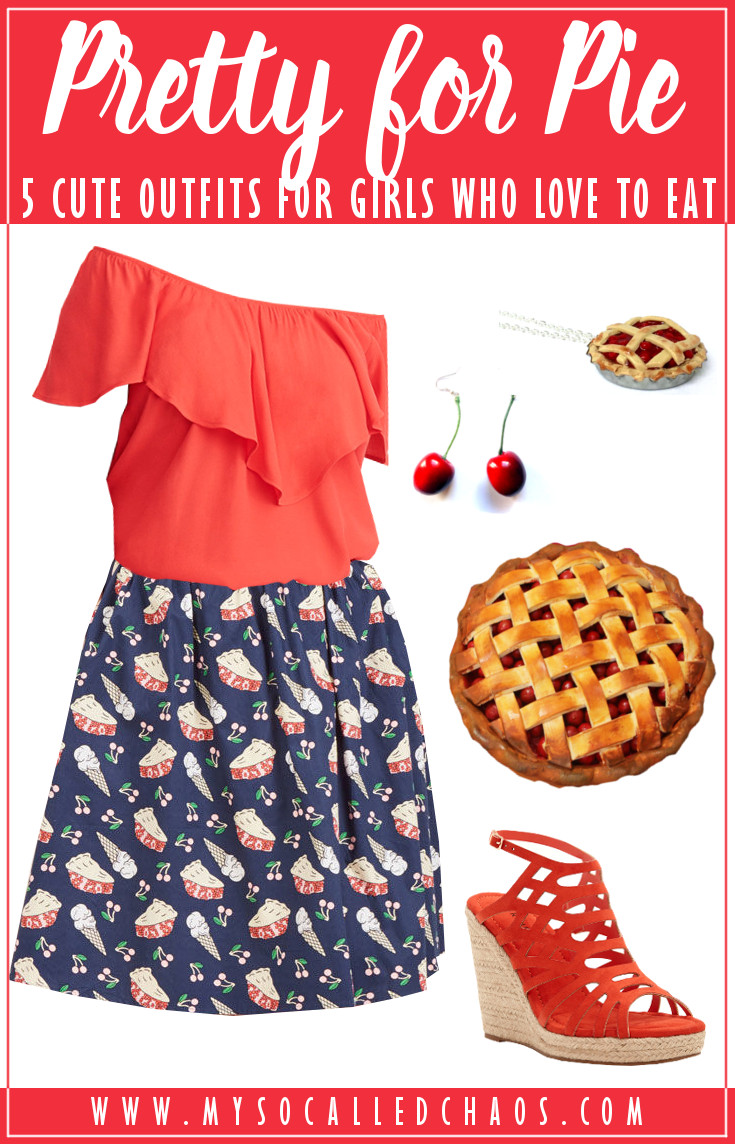 5 Cute & Size-Friendly Summer Outfits: Pretty for Pie featuring a red off the shoulder shirt, pie skirt, cherry earrings, cherry pie necklace, cherry pie purse, and red wedge heels