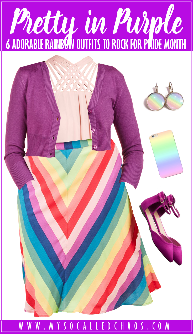 6 Adorable Rainbow Outfits to Rock for Pride Month (or Always): Pretty in Purple featuring a pale pink tank top, purple cardigan, rainbow midi skirt, rainbow earrings, rainbow phone case, and magenta shoes