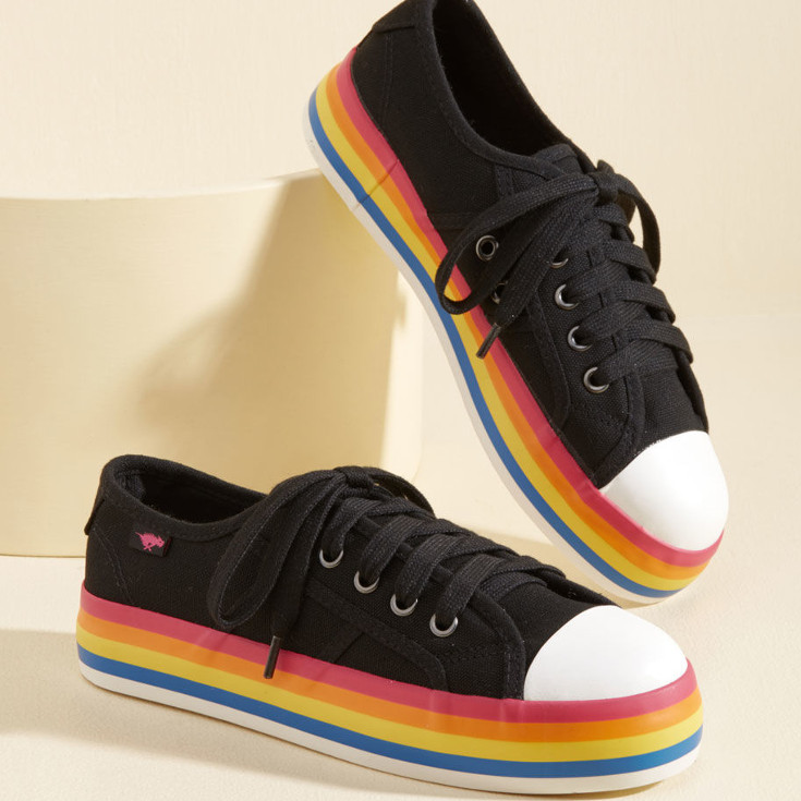 Chroma Full Circle Sneaker - black sneakers with rainbow soles from ModCloth