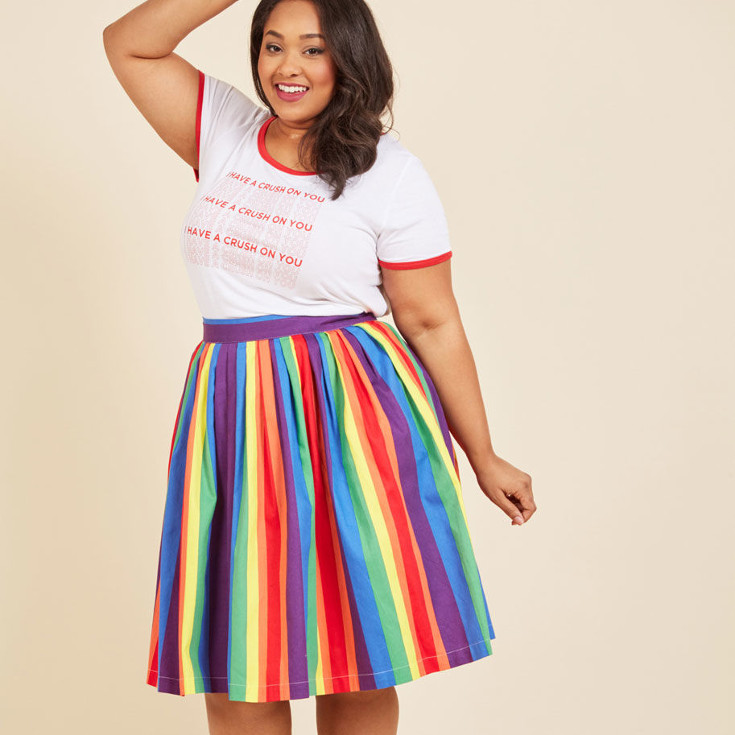 Aspiration Creation A-Line Skirt in Vibrant - rainbow a-line skirt from Modcloth
