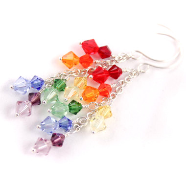 Rainbow Cascade Earrings - rainbow dangle earrings on Etsy