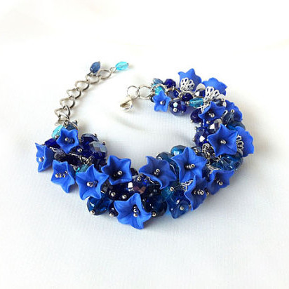 Bluebell Czech Glass Cluster Bracelet