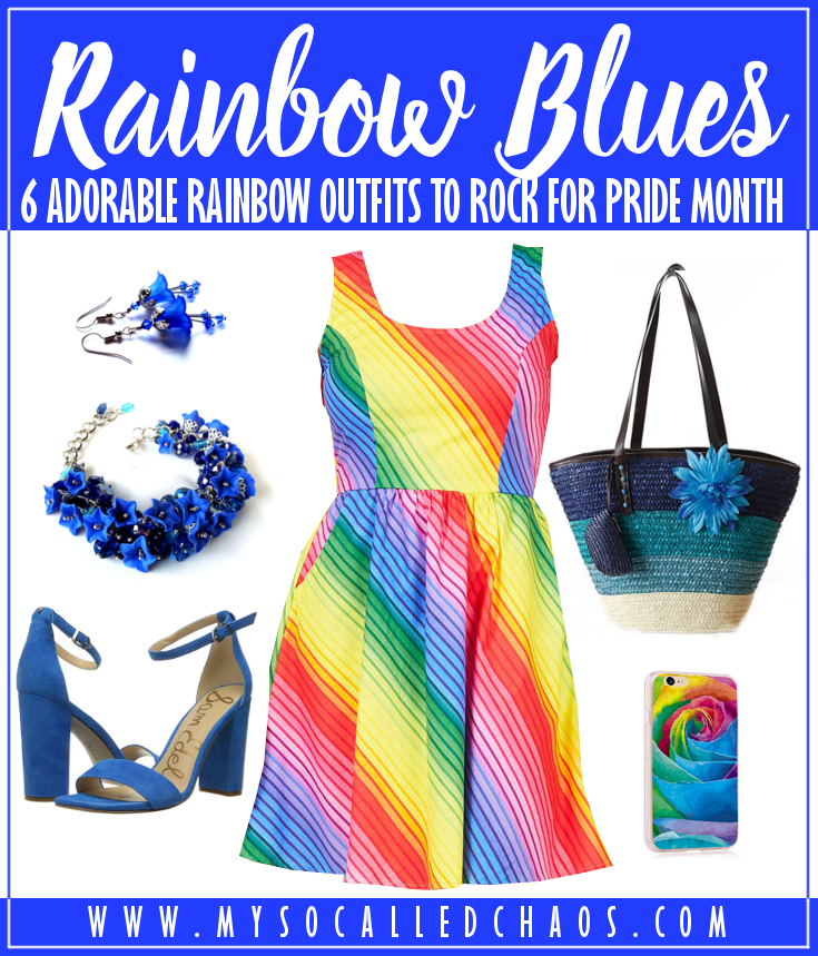 6 Adorable Rainbow Outfits to Rock for Pride Month (or Always): Rainbow Blues featuring a rainbow skater dress, blue floral necklace and earrings, blue heeled sandals, blue purse, and a rainbow rose phone case